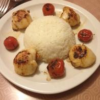 Riz, Saint jacques et tomates cerises poélées